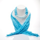 Blue  Scarf Decorated With moonstone