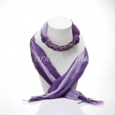 Purple Two Tone Scarf Decorated With Amethyst