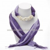 Purple Two Tone Scarf Decorated with Howlite