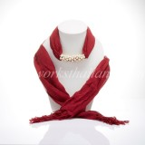 Carmine Scarf Decorated With Freshwater Pearl