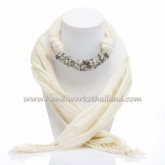 Creme Scarf Decorated with Black Rutilated Quartz