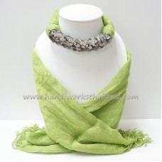 Green Scarf Decorated with Black Rutilated Quartz