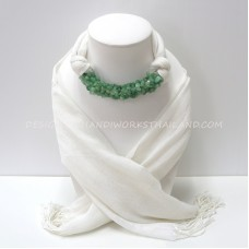 White Scarf Decorated With Green Jade