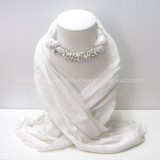 White Scarf Decorated With White Howlite