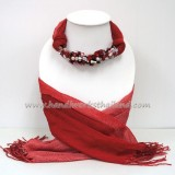 Red Two Tone Scarf decorated with Mix