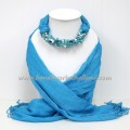Sky Blue Scarf Decorated with Mix