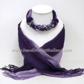 Purple Two Tone Scarf Decorated with Mix
