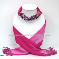 Pink Two Tone Scarf decorated with Mix