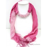 Pink Two Tone Scarf Decorated with Rose Quartz