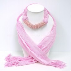 Pink Scarf Decorated With Rose Quartz