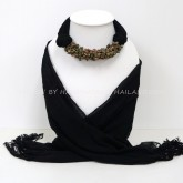 Black Scarf Decorated With Unakite