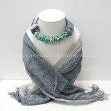 Gray Two Tone Scarf Decorated With Blue Stone